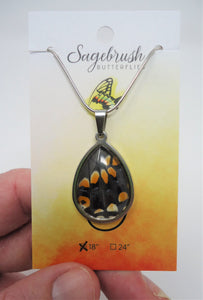 Eastern Black Swallowtail Teardrop Pendant Necklace