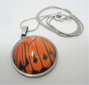Fire Orange Tip Buttefly Pendant Necklace