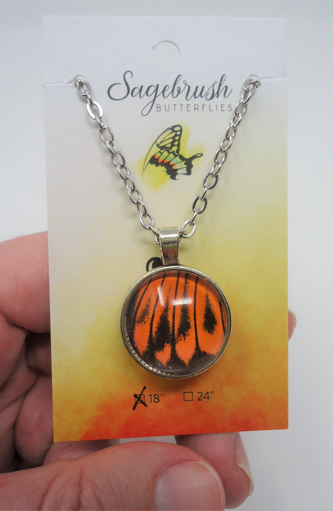 Fire Orange Tip Butterfly Double Sided Pendant Necklace