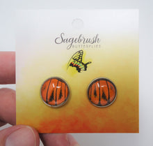 Fire Orange Tip Butterfly Post Earrings