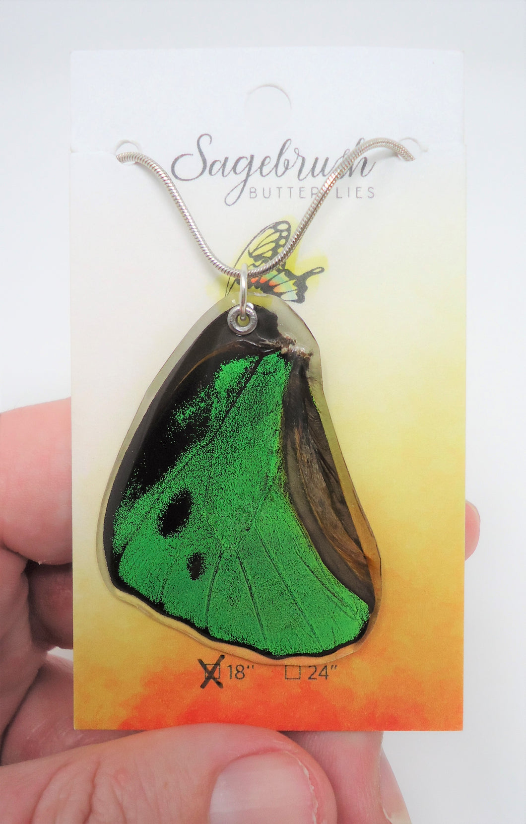 Green Birdwing Butterfly Resin Wing Necklace