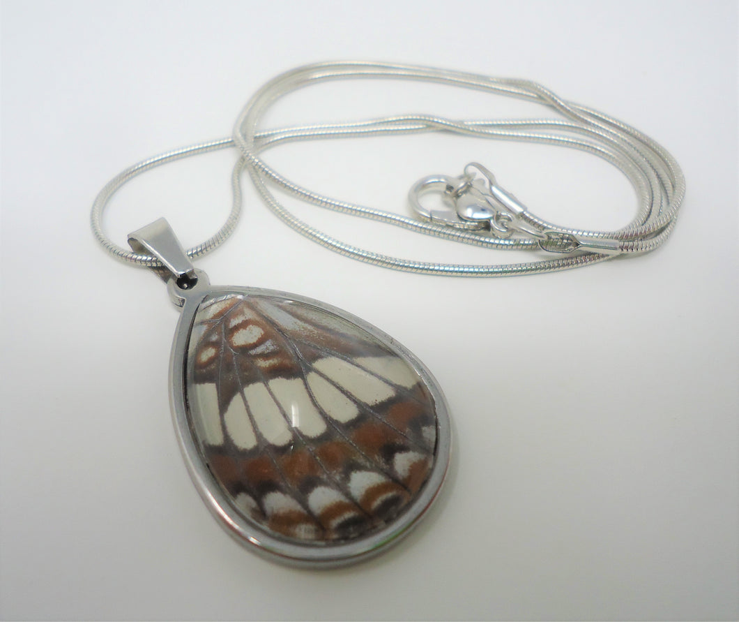 Lorquin's Admiral Butterfly Teardrop Pendant Necklace