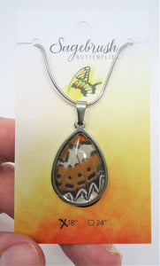 Malay Lacewing Butterfly Pendant Necklace - Cethosia hypsea