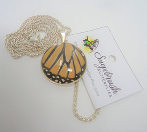 Monarch Butterfly Sterling Silver Pendant Necklace