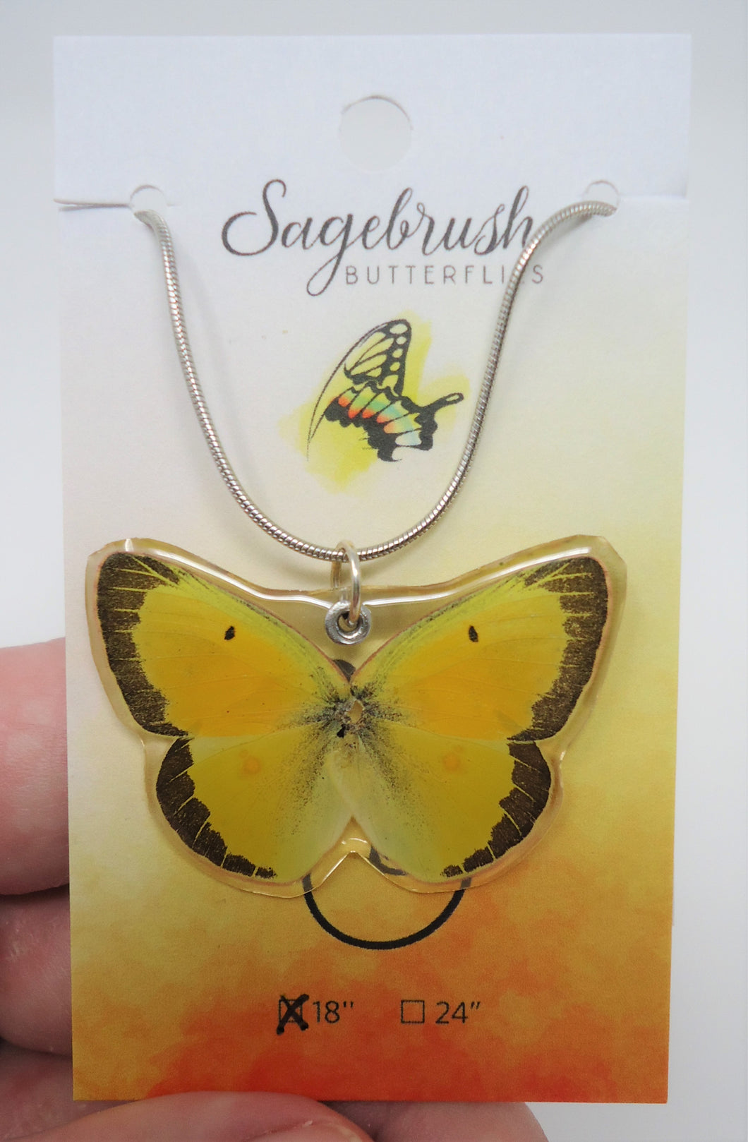 Sulphur Butterfly Resin Necklace