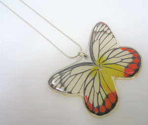 Painted Jezebel Butterfly Resin Necklace