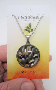 Pale Swallowtail Butterfly Pendant Necklace - Papilio eurymedon