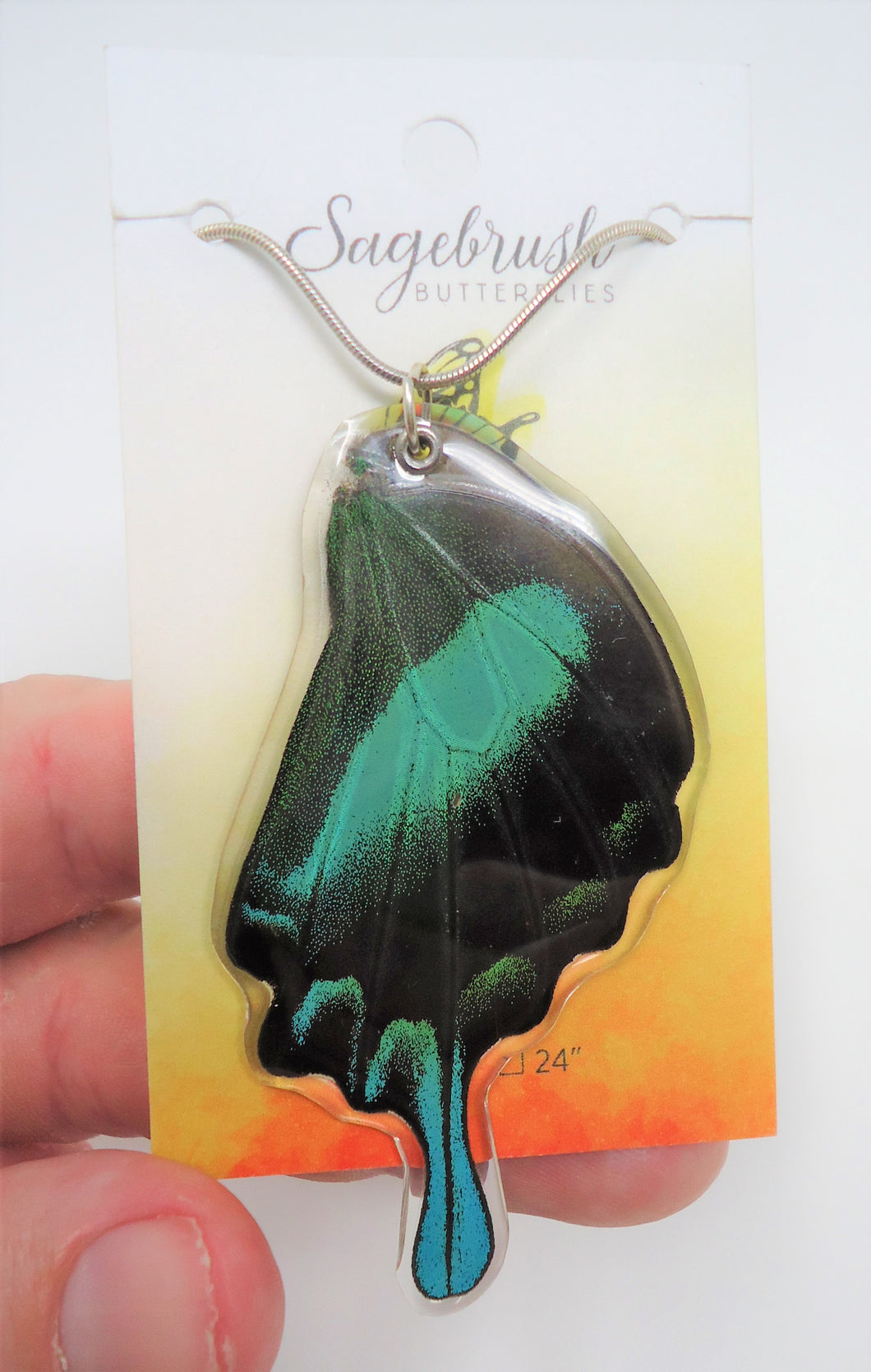 Peacock Swallowtail Resin Wing Necklace