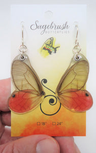 Pink Tipped Satyr Butterfly Resin Earrings