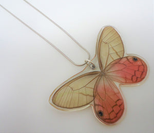 Pink Satyr Butterfly Resin Necklace