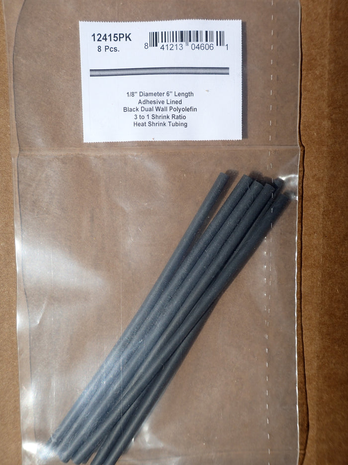 8680-12415: Black Six-Inch Dual Wall Shrink Tubing 1/8""