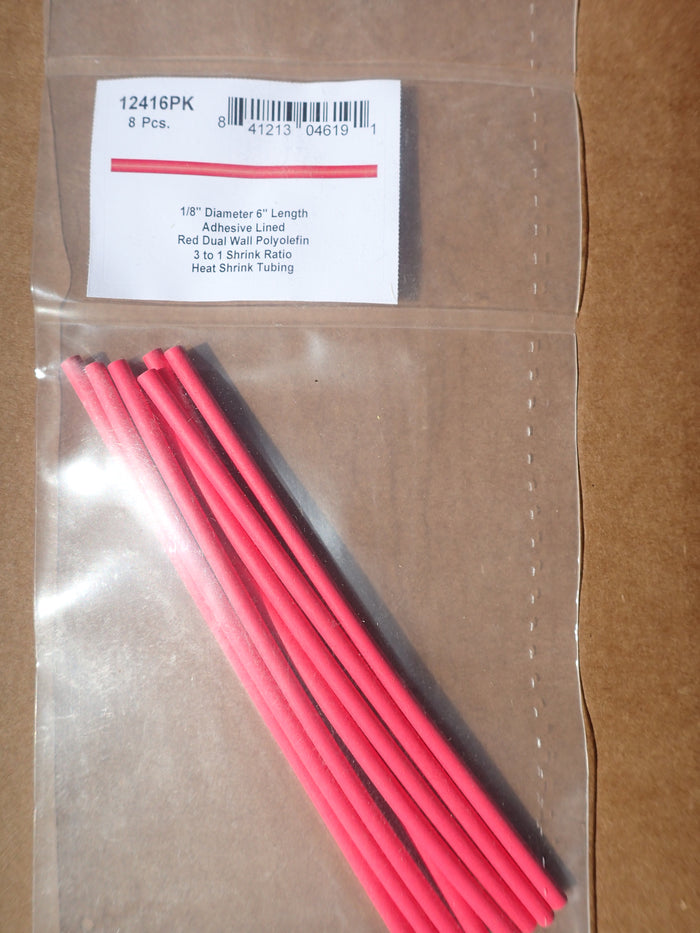 8680-12416: Red Six-Inch Dual Wall Shrink Tubing 1/8""