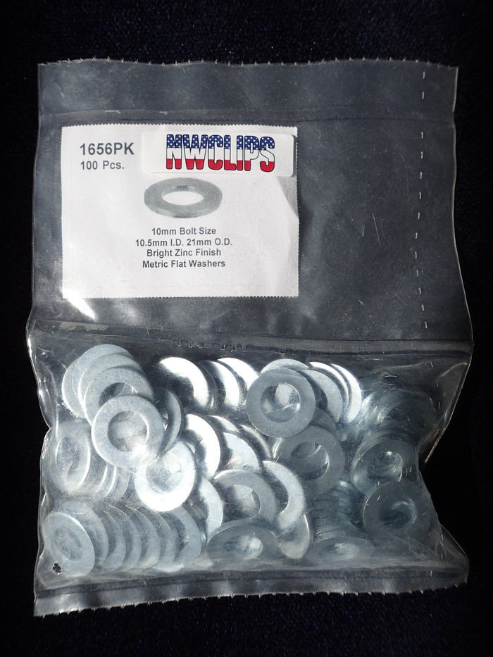 8619-1656: Zinc Finish Metric Flat Washer 10MM nominal ID