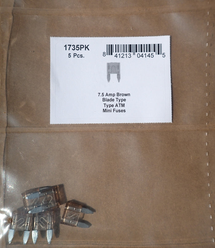 8657-1735 Blade Type Fuse Mini ATM: Brown 7.5 Amp