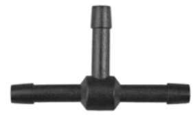 "8675-11288 Black Nylon T-Vacuum Line Connecter 1/8"" x 1/8"" x 1/8"" Hose Inside Diameter"
