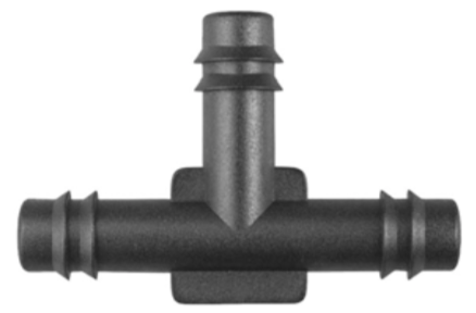 "8675-11311 Black Nylon Tee Vacuum Connecter 5/16"" x 5/16"" x 5/16"" Hose Inside Diameter"