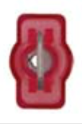"8679-3613: Red Nylon Crimp Connector 1/4"" Tab Fully Insulated Male Spade"