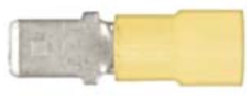 "8679-3650: Yellow Nylon Crimp Connector 1/4"" Tab Size Male Spade"