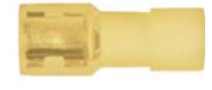 "8679-3651: Yellow Nylon Crimp Connector 1/4"" Tab Size Fully Insulated Female Spade"