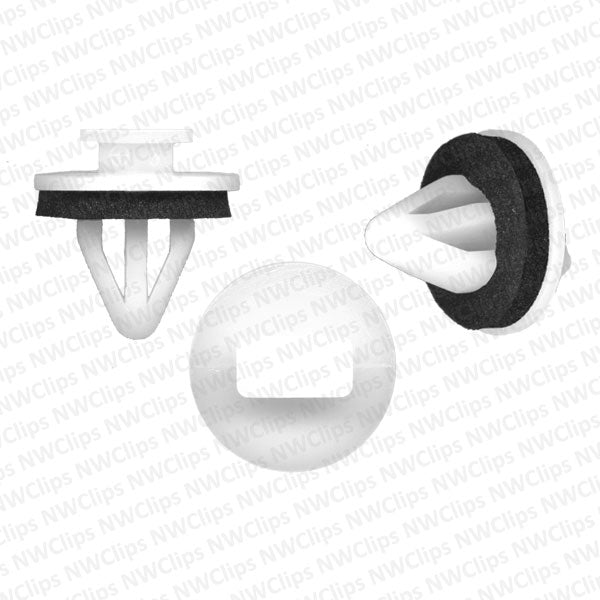 D06 - Toyota White Nylon Rocker, Trim Panel Retainer Clips With Sealer
