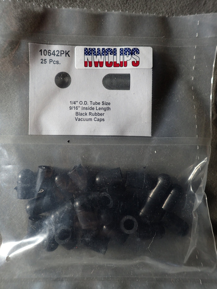 "8675-10642 Black Rubber Vacuum Caps 1/4"" Outside Diameter Tube Size: Short"