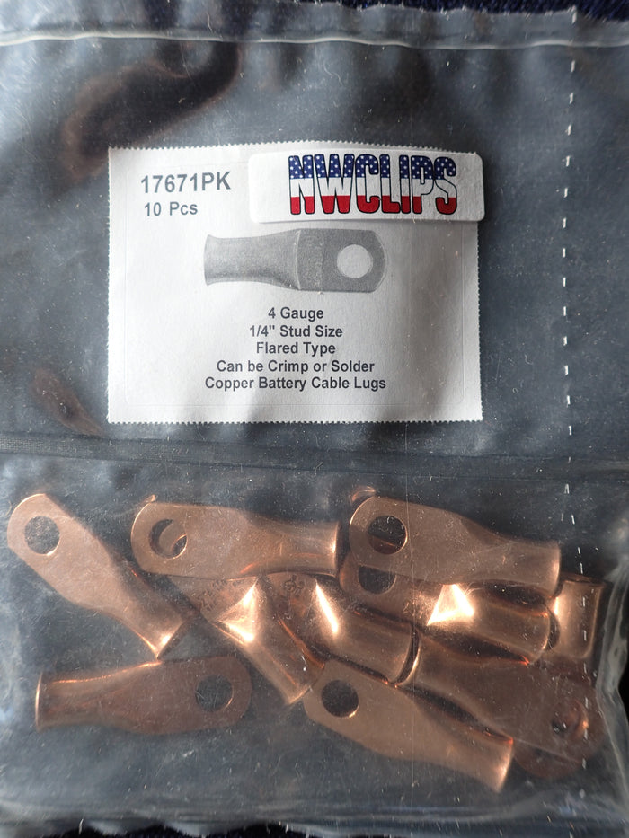 8804-17671: Flared End Copper Battery Cable Lugs: 4 Gauge