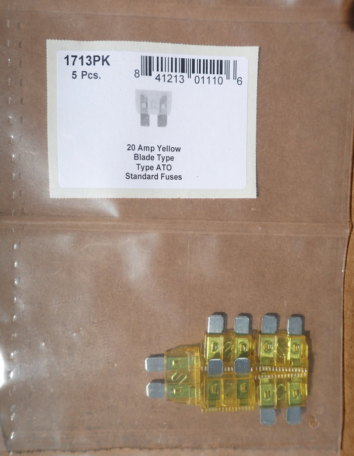 8657-1713 Blade Type Fuse Standard ATO: Yellow 20 Amp
