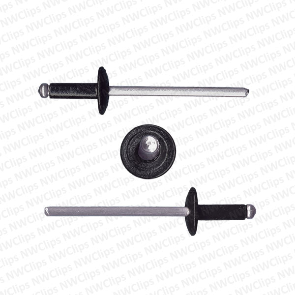 R01 - Universal Use 3.1mm Hole Size Wide Flange Black Aluminum-Steel Rivets