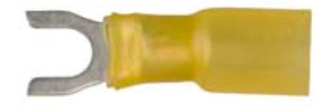 8674-12158: Yellow Crimp & Seal Open Spade Terminal:#10 Stud Qty.-10