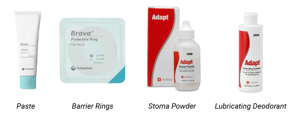 Ostomy Paste, Barrier Rings, Stoma Powder, and Lubricating Deodorant