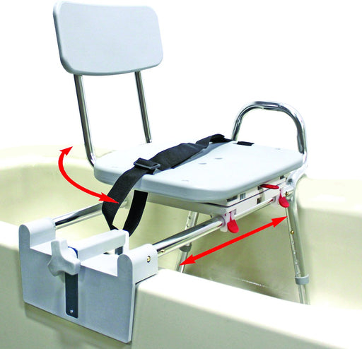 Snap-N-Save Sliding Tub-Mount Transfer Bench with Swivel Seat, Back, Handrail for Seat