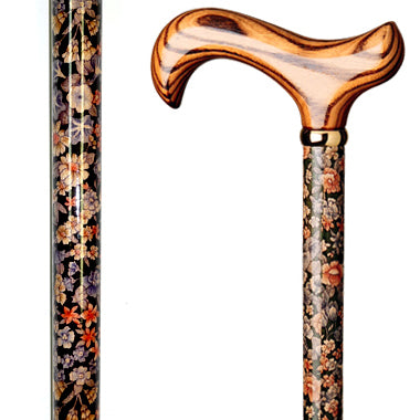 Floral Wood Cane / Poppies