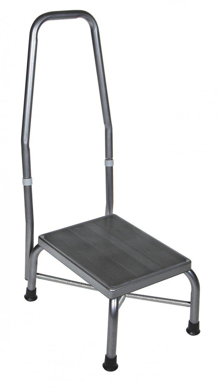 Bariatric Footstool with Handrail with Non Skid Rubber Platform  13062-1sv