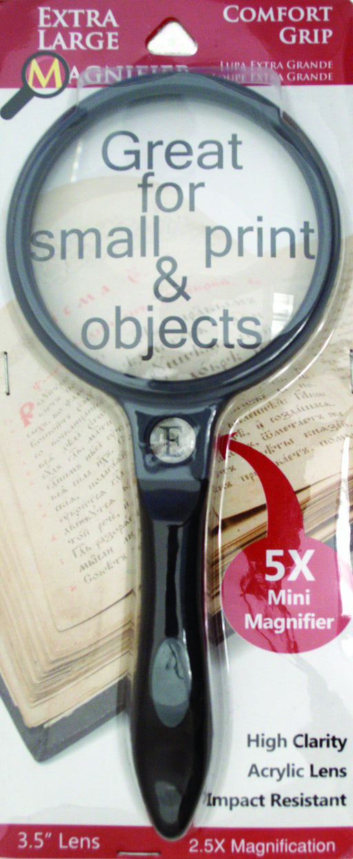 "Extra Large 2.5x Magnifier with Comfort Grip and  3.5"" Lens"