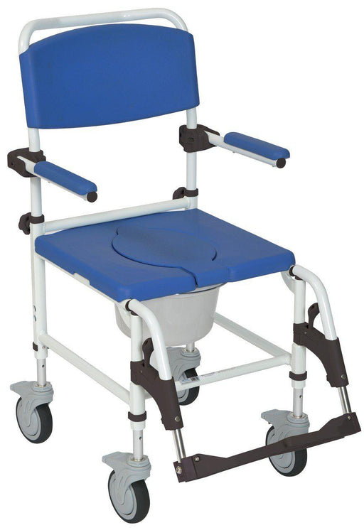 Drive Aluminum Rehab Shower Commode Chair with Four Rear-locking Casters