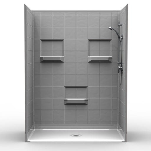 "Barrier-Free Shower with 8"" Square Tile"