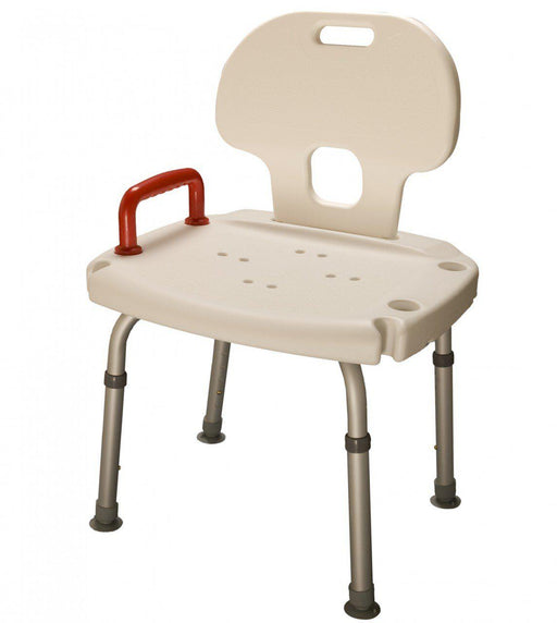 Shower Seat with Back and Red handle