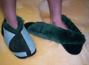 Australian Sheepskin Apparel Wrap Around Slippers, Closed Toe with Rubber Sole (pair)