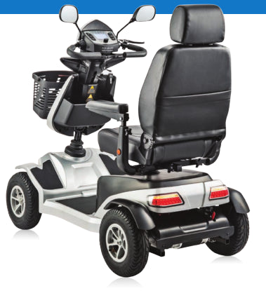 Eclipse Trailmaster Interceptor mobility scooter silver from behind