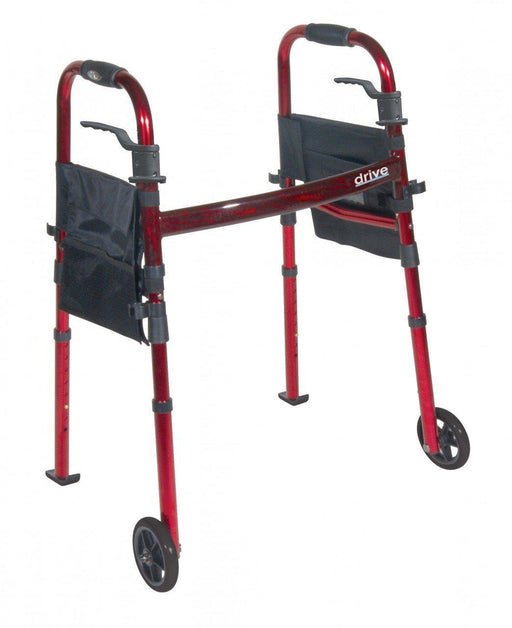 "Portable Folding Travel Walker with 5"" Wheels and Fold up Legs  rtl10263kdr"
