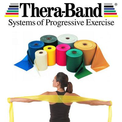 Thera-band log with rolls and woman using yellow band