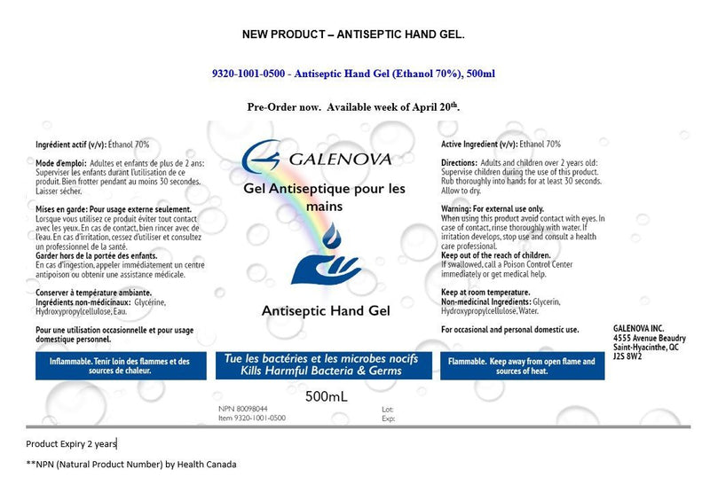Galenova Antiseptic Hand Gel 500ml