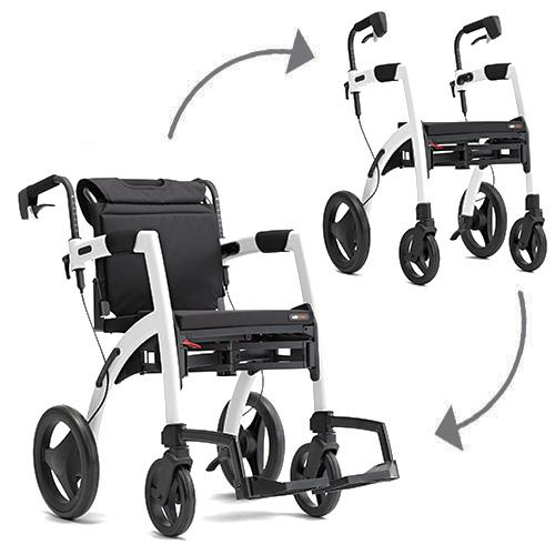 The Rollz Motion can alternate between a rollator and a transport wheelchair