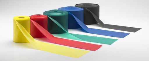 Rolls of yellow, red, green, blue and black Thera-bands