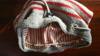 Gray and Red Striped Duffel Kit
