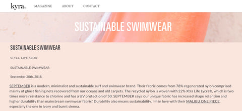 Kyra's Kitchen Sustainable Swimwear Blog Post about SEPTEMBER the Line