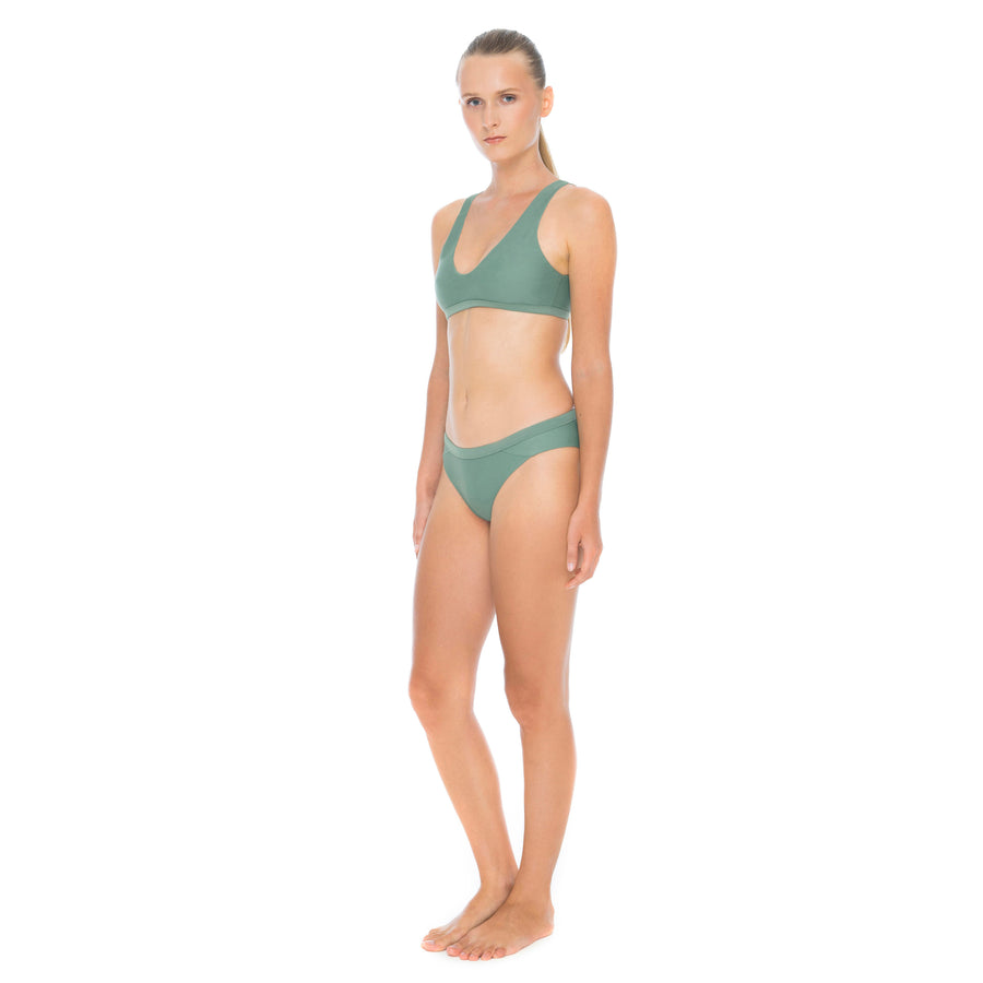 side view army green sustainable surf bikini bottom