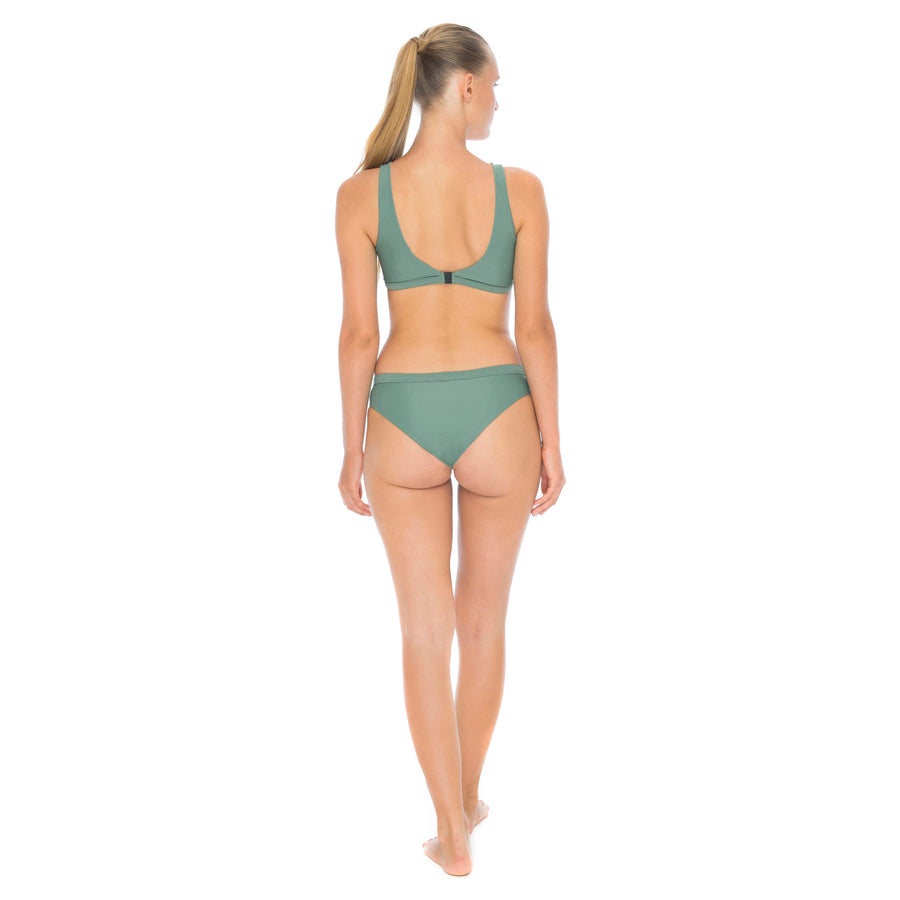 back view army green sustainable surf bikini bottom
