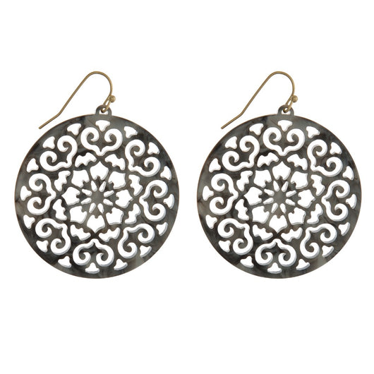 GrayCircle Filigree Earrings - Samsara