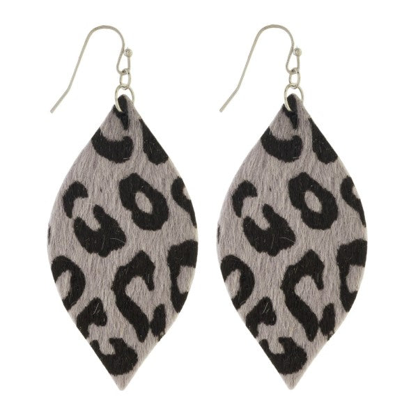 Gray Leopard Teardrop Earrings - Samsara